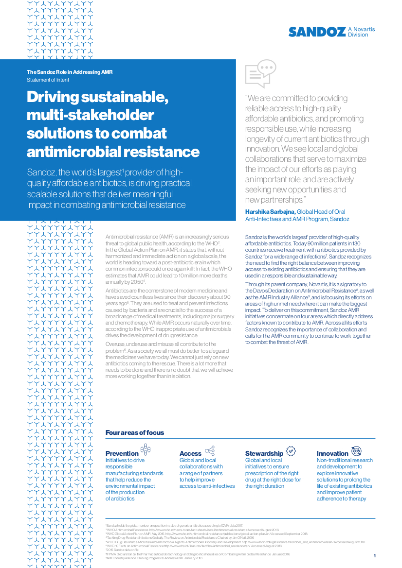 The Sandoz Role in Addressing AMR
